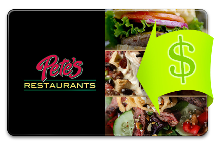 Recharge your Pete's Restaurant & Brewhouse Card